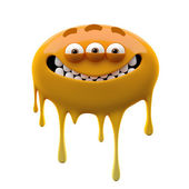 Oviform smiling orange three-eyed monster — Stock Photo