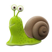 Smiling green cartoon snail — Photo