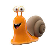 Funny orange cartoon snail — Stock Photo