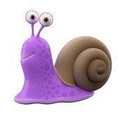 Smiling purple cartoon snail — Foto Stock