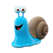 Funny blue cartoon snail — 图库照片