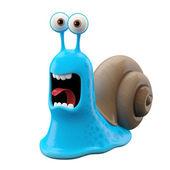 Screaming blue cartoon snail — Foto de Stock