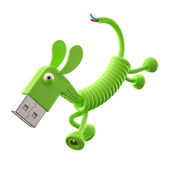 Green USB dog — Stock Photo