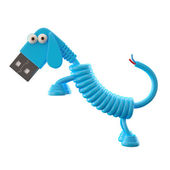 Blue USB dog — Stock Photo