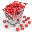 Shopping cart with red cubes with percent. — Stock Photo