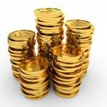 Heap gold coins. — Stock Photo