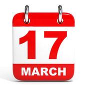 Calendario sobre fondo blanco. 17 marzo. — Foto de Stock