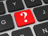 Znak zapytania na klawiaturze laptopa. — Zdjęcie stockowe