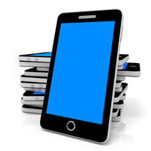 Stack of Smart phones with blue screen. — Stock Photo