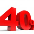 Red forty percent off. Discount 40 percent. — Stock Photo #43138897