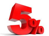 Red five percent off. Discount 5 percent. — Stock Photo