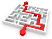 Arrow going through the maze. Right solution concept — Stock Photo