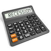 Calculator with RECESSION on display. — Stock Photo