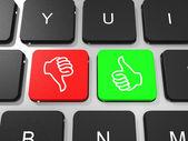 Like and dislike symbol key on keyboard of laptop computer. — Stock Photo