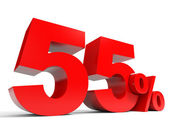 Red fifty five percent off. Discount 55 percent. — Stock Photo