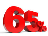 Red sixty five percent off. Discount 65 percent. — Stock Photo