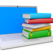 Stack of books and laptop. — Stock Photo