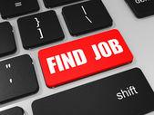 Encontrar trabalho chave no teclado do computador portátil. — Fotografia Stock