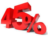 Red forty five percent off. Discount 45 percent. — Stock Photo