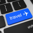 Travel key and airplane symbol on keyboard of laptop computer. — Stock Photo #43986185