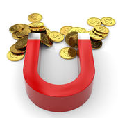 Magnet with coins. — Stock Photo