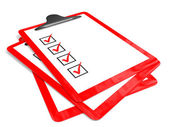 Red pad holders with check boxes. — Stock Photo