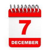 Calendar on white background. 7 December. — Stock Photo