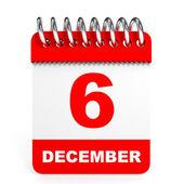 Calendar on white background. 6 December. — Stock Photo