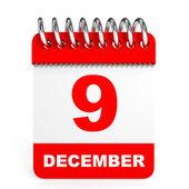 Calendar on white background. 9 December. — Stock Photo