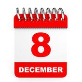 Calendar on white background. 8 December. — Stock Photo