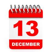Calendar on white background. 13 December. — Stock Photo