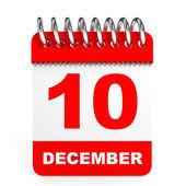 Calendar on white background. 10 December. — Stock Photo