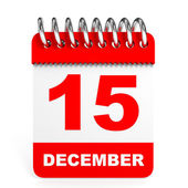 Calendar on white background. 15 December. — Stock Photo