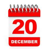 Calendar on white background. 20 December. — Stock Photo