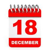 Calendar on white background. 18 December. — Stock Photo