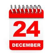 Calendar on white background. 24 December. — Stock Photo