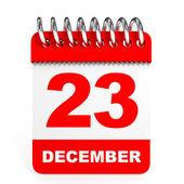 Calendar on white background. 23 December. — Stock Photo