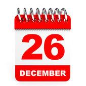 Calendar on white background. 26 December. — Stock Photo
