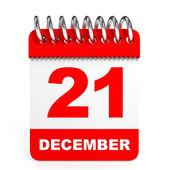 Calendar on white background. 21 December. — Stock Photo