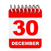 Calendar on white background. 30 December. — Stock Photo