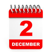 Calendar on white background. 2 December. — Stock Photo
