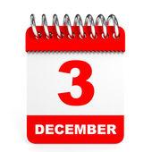 Calendar on white background. 3 December. — Stock Photo