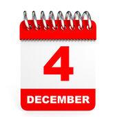 Calendar on white background. 4 December. — Stock Photo