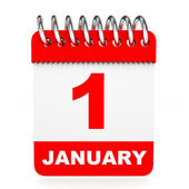 Calendar on white background. 1 January. — Stock Photo