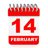 Calendar on white background. 14 February. — Stock Photo
