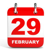 Calendar on white background. 29 February. — Stock Photo
