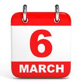 Calendar. 6 March. — Стоковое фото