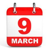 Calendar. 9 March. — Stock Photo