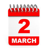 Calendar on white background. 2 March. — Stock Photo