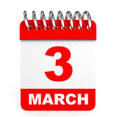 Calendar on white background. 3 March. — Stock Photo